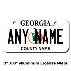 Personalized Georgia 3 X 6 License Plate