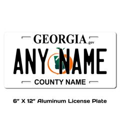 Personalized Georgia 6 X 12 License Plate