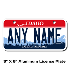 Personalized Idaho 3 X 6 License Plate