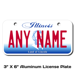 Personalized Illinois 3 X 6 License Plate
