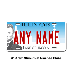 Personalized Illinois 6 X 12 License Plate