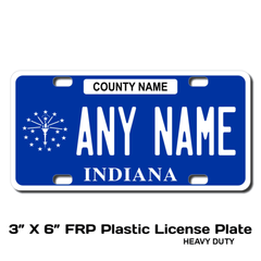 Personalized Indiana 3 X 6 Plastic License Plate