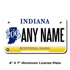 Personalized Indiana 4 X 7 License Plate