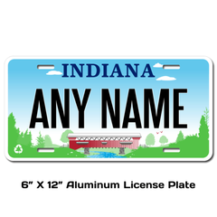 Personalized Indiana 6 X 12 License Plate