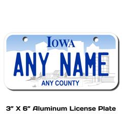 Personalized Iowa 3 X 6 License Plate