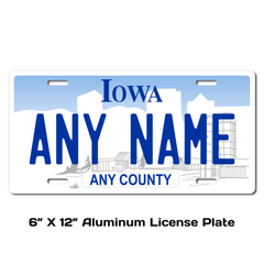 Personalized Iowa 6 X 12 License Plate