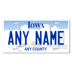 Personalized Iowa License Plate for Bicycles, Kid's Bikes, Carts, Cars or Trucks