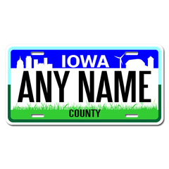 Personalized Iowa License Plate for Bicycles, Kid's Bikes, Carts, Cars or Trucks Version 2