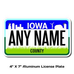 Personalized Iowa 4 X 7 License Plate