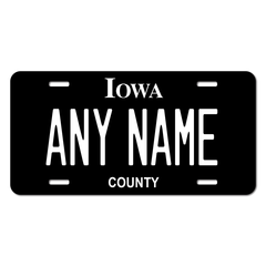 Personalized Iowa Black Out License Plate for Bicycles, Kid's Bikes, Carts, Cars or Trucks Version 3