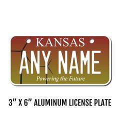 Personalized Kansas 3 X 6 License Plate