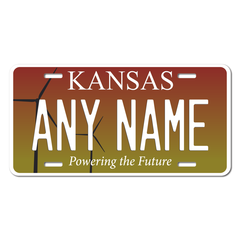 Personalized Kansas License Plate for Bicycles, Kid's Bikes, Carts, Cars or Trucks Version 2