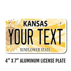 Personalized Kansas 4 X 7 License Plate