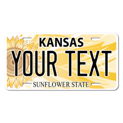Personalized Kansas Sunflower License Plate for Bicycles, Kid's Bikes, Carts, Cars or Trucks Version