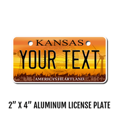 Personalized Kansas 2 X 4 License Plate