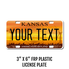 Personalized Kansas 3 X 6 Plastic License Plate