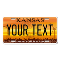Personalized Kansas License Plate for Bicycles, Kid's Bikes, Carts, Cars or Trucks Version 4