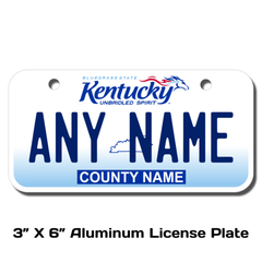 Personalized Kentucky 3 X 6 License Plate