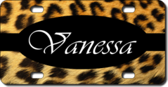Personalized Leopard Print License Plate for Bicycles, Kid's   Bikes, Carts, Cars or Trucks