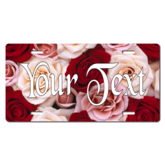 Personalized Roses Background License Plate for Bicycles, Kid's Bikes, Carts, Cars or Trucks
