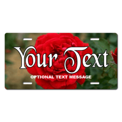 Personalized Red Rose License Plate for Bicycles, Kid's Bikes, Carts, Cars or Trucks