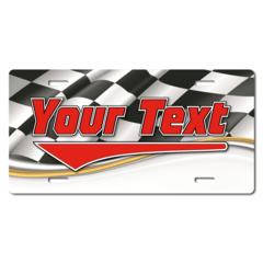 Personalized Checkered Racing Flag License Plate for Bicycles, Kid's Bikes, Carts, Cars or Trucks