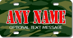 Personalized Camouflage License Plate for Bicycles, Kid's Bikes, Carts, Cars or Trucks