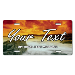 Personalized Sunset on the Ocean License Plate for Bicycles, Kid's Bikes, Carts, Cars or Trucks