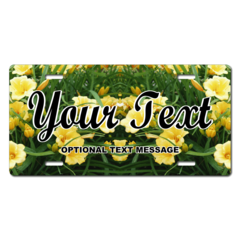 Personalized Yellow Flowers License Plate for Bicycles, Kid's Bikes, Carts, Cars or Trucks
