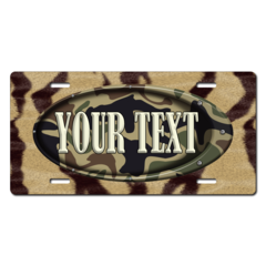Personalized Animal Skin/Camouflage License Plate for Bicycles, Kid's Bikes, Carts, Cars or Trucks