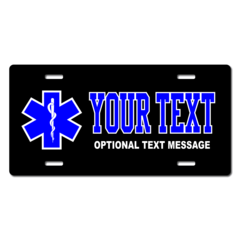 Personalized Star of Life License Plate for Bicycles, Kid's Bikes, Carts, Cars or Trucks