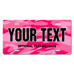 Personalized Pink Camouflage License Plate for Bicycles, Kid's Bikes, Carts, Cars or Trucks