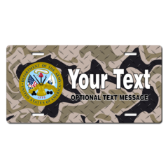 Personalized U.S. Army Seal / Brown Camo Background License Plate for Bicycles, Kid's Bikes, Carts,