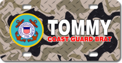 Personalized U.S. Coast Guard Seal / Brown Camo Background License Plate for Bicycles, Kid's Bikes,