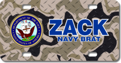 Personalized U.S. Navy Seal / Brown Camo Background License Plate for Bicycles, Kid's Bikes, Carts,