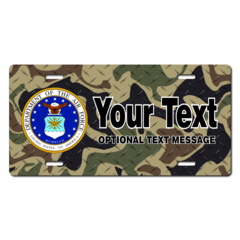 Personalized Air Force Seal w/ Camo Background License Plate for Bicycles, Kid's Bikes, Carts, Cars