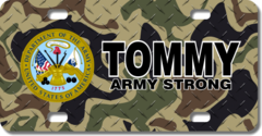 Personalized Army Seal / Woodland Camo Background License Plate for Bicycles, Kid's Bikes, Carts, Ca