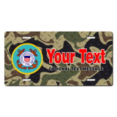Personalized Coast Guard Seal / Woodland Camo Background License Plate for Bicycles, Kid's Bikes, Ca
