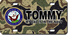 Personalized Navy Seal / Woodland Camo Background License Plate for Bicycles, Kid's Bikes, Carts, Ca