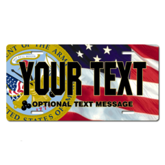 Personalized Army Seal / American Flag Background License Plate for Bicycles, Kid's Bikes, Carts, Ca