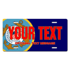 Personalized Coast Guard Seal / Navy Background License Plate for Bicycles, Kid's Bikes, Carts, Cars