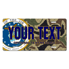 Personalized Air Force Seal / Woodland Camo Background License Plate for Bicycles, Kid's Bikes, Cart