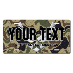 Personalized U.S. Air Force Silver Emblem w/ Woodland Camo Background License Plate for Bicycles, Ki