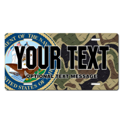 Personalized Navy Seal w/ Camo Background License Plate for Bicycles, Kid's Bikes, Carts, Cars or Tr
