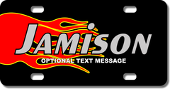 Personalized Red and Yellow Flame License Plate for Bicycles, Kid's Bikes, Carts, Cars or Trucks