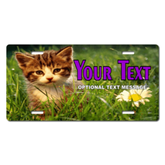 Personalized Kitten and Flower License Plate for Bicycles, Kid's Bikes, Carts, Cars or Trucks
