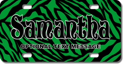 Personalized Green Zebra Print License Plate for Bicycles, Kid's Bikes, Carts, Cars or Trucks