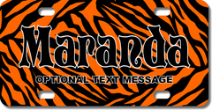 Personalized Orange Zebra Print License Plate for Bicycles, Kid's Bikes, Carts, Cars or Trucks