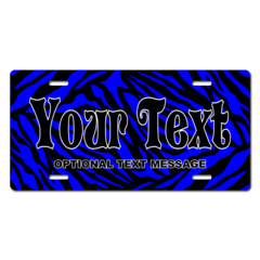 Personalized Blue Zebra Print License Plate for Bicycles, Kid's Bikes, Carts, Cars or Trucks