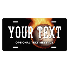 Personalized Flaming Baseball License Plate for Bicycles, Kid's Bikes, Carts, Cars or Trucks